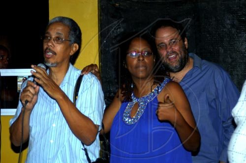 Winston Sill / Freelance Photographer Angella Brown-Burke celebrates her birthday with family, friends and party colleague at party, held at The Quad, New Kingston on Monday night April 26, 2010. Here are Paul Burke (left); Angella Brown-Burke (centre); and Mark Golding (right).