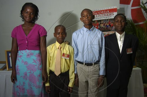 Gladstone Taylor / Photographer  left to right, Shania Owens, Kyle Sahadath, Daniel Lawla and Matthew Campbell  as seen at the Scotia Jamaica Foundation Shining Star Scholarship awards luncheon on August 26, 2010
