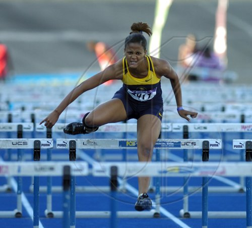 Ricardo Makyn/Staff Photographer.Womens 100 Meters Hurdles    final at the Gibson Relays at the National Stadium on Saturday