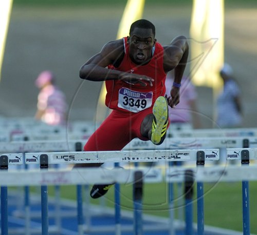 Ricardo Makyn/Staff Photographer.Mens 110 Hurdles    final at the Gibson Relays at the National Stadium on Saturday