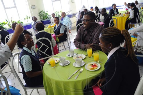 Ricardo Makyn/Staff Photographer. Gleaners Birthday Breakfast Celebration at the Gleaner on Tuesday 13.4.2010.