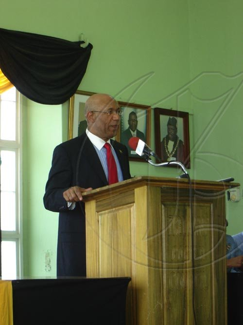 The Governor-General, His Excellency the most Honourable Sir Patrick Allen speaks at the Parish Council Town Hall in Falmouth on Tuesday. The Parish Council was the first stop in his tour of Trelawny.