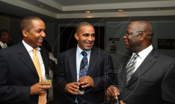 Winston Sill / Freelance Photographer Jamaica Exporters Association (JEA) Awards Banquet, held at the Wyndham Hotel  on Wednesday night June 29, 2011. Here are Paul R. Lewis (left); John O. Minott (centre); and  Vitus Evans (right), President, JEA.