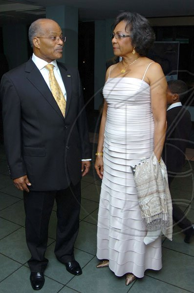 Rudolph Brown/Chief Photographer Former Governor General Professor Sir Kenneth Hall and his wife Her Excellency Rheima Hall upon their arrival at the Jamaica Medical Foundation awards and fund-raising banquet at the Hilton Hotel in New Kingston on Saturday, March 21-2009