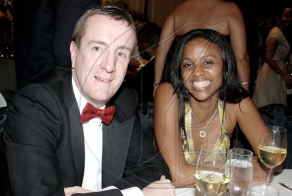 Janet Silvera   Digicel's CEO Mark Linehan and his corporate relations manager, Trisha Thompson at the Jamaica Committee Pineapple Ball at the Ritz Carlton Rose Hall last Saturday night.