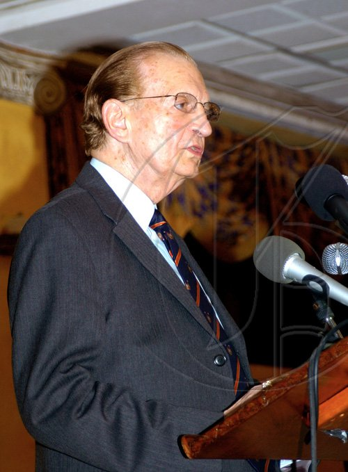 "Winston Sill / Freelance Photographer Former Prime Minister Edward Seaga addressing those gathered at the launch of his book ""Edward Seaga: My Life And Leadership, Volume One: Clash of Ideologies 1930-1980"", held at Mona Visitors' Lodge on Wednesday."