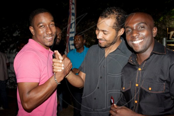 All you single ladies now know where to find the good-looking guys! Rojah Thomas (left) greets old friends at 'Laas Fridays'.