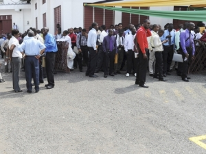 Hundreds of job seekers turned up for interview as Correctional Officers in the Department of Correctional Services at the Christian Fellowship World outreach church in St. Andrew - file photo.
