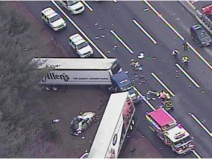 Three family members from Atlanta were killed in a crash involving a tractor-trailers on the New Jersey Turnpike in Mount Holly on Thursday. (photo courtesy of 6ABC.com in Philadelphia.)