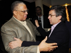 Finance Minister Peter Phillips (left) with �President of the Inter-American Development Bank, Luis Alberto Moreno at the Jamaica Pegasus Hotel shortly after the IDB head arrived in Jamaica - Ricardo Makyn/Staff Photographer