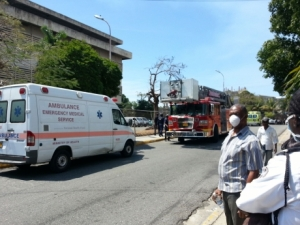 Emergency personnel responding to the release of noxious fumes at the CSO - Ricardo Makyn/Staff Photographer