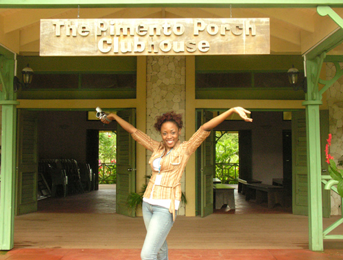 Go-Jamaica team member Kerry-Ann smiles for the camera at The Pimento Porch Clubhouse at Walkerswood Caribbean Foods Limited, Walkerswood, St Ann.